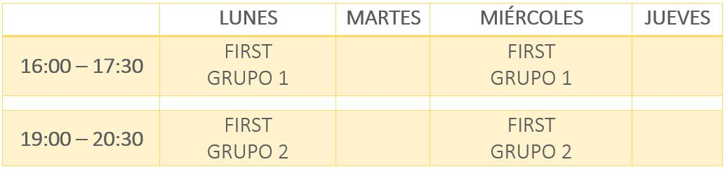 Horarios First Certificate Liceo Madrid